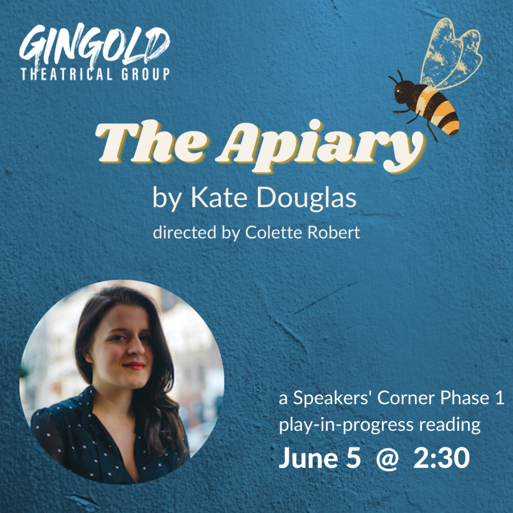 The Apiary by Kate Douglas, a virtual reading, with an picture of Kate and a drawing of a bee on blue background